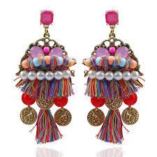 thread earrings ethnic boho earrings silk thread earrings with artificial