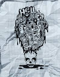 halloween skeleton head hand drawn death skeleton head with ghosts suitable for halloween