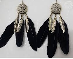 black feather earrings european style vintage feather earrings pickflash