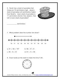 grade 2 measurement data and geometry quiz by math worksheets