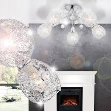 Beleuchtung Wohnzimmer Ebay Deckenleuchte Kristall Decken Lampe Beleuchtung Chromgeflecht