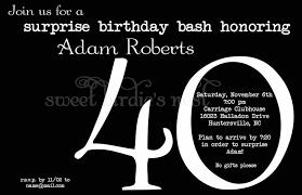 Invitation Cards For 40th Birthday Party Surprise 40th Birthday Invitations Kawaiitheo Com