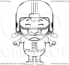 cartoon clipart of a black and white happy football player