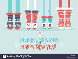 new years socks family in christmas socks winter concept merry
