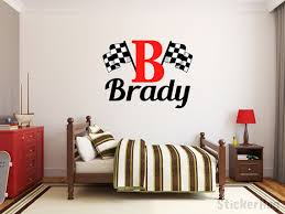 Monogram Wall Decals For Nursery Boys Name Checkered Flag Racing Monogram Wall Decal 2 Nursery