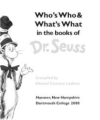 who u0027s who and what u0027s what in the books of dr seuss