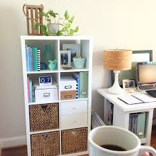 tips office organization shelves in white with wood side table