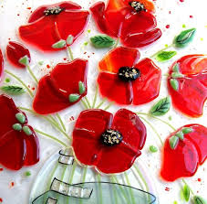 112 best poppies images on stained glass flowers