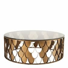 modern gold table l coffee table l indiscret antique copper finish tawny glass ø 110 x