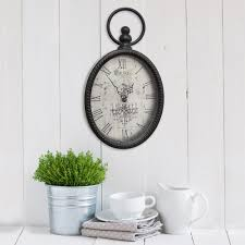 stratton home decor antique black oval wall clock s02198 the