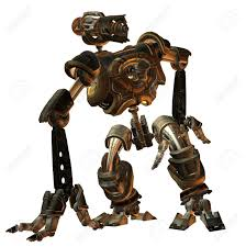 3d rendering futuristic fighting machine in the steampunk style