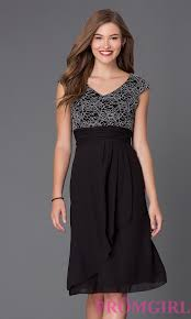 knee length cap sleeve homecoming dress promgirl