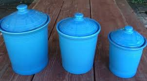 fiesta canister set in retired peacock blue made by homer