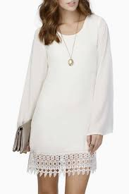 plain round neck long sleeve simple style dress with lace hem