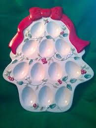 christmas deviled egg plate vintage deviled eggs tray from italy egg and trays