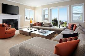 Family Room With Sectional Sofa Burnt Orange Sofa Family Room Transitional With Sectional Sofa