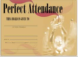 free printable perfect attendance certificate template public