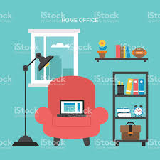 Home Office Concept Flat Icons Design For Modern Home Office Concept With Laptop Stock