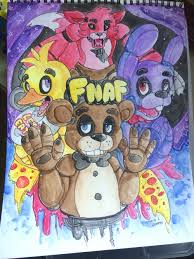 painting fnaf five nights at freddy s 1 watercolour painting by skoryx on