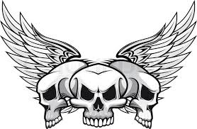 three danger skulls with wings for or mascot design stock