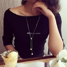 long pearl pendant necklace images Wholesale simple faux pearl pendant necklace for women girls long jpg
