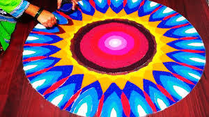 colours combination simple rangoli flower with excellent colour combination by indian