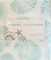 Seashell Fabric Shower Curtain Coastal Collection Seashells White Cotton Shower
