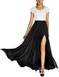 flowy maxi skirts customize s fashion solid color flowy split maxi skirt