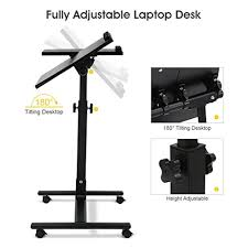 Adjustable Laptop Desks Langria Laptop Table Height Adjustable Mobile Laptop Stand Desk