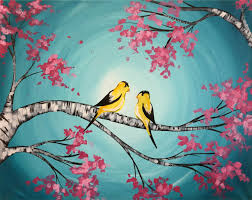 spring finches pinot u0027s palette painting