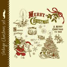 christmas vintage clip art hand drawn elements digital