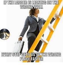 Ladder Meme - if the ladder is leaning on the wrong wall every stepgets us tuthe