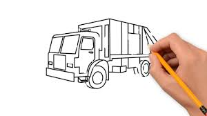 simple pencil drawings for truck garbage truck transport pencil to