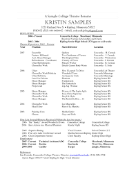 Example Acting Resume by Musical Resume Musical Theatre Resume Template Theater Technical