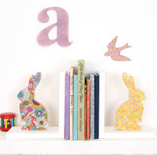 bunny bookends liberty print fabric bunny bookend by bombus notonthehighstreet
