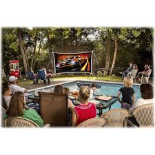 backyard theater systems savi 720p led projector with silverscreen