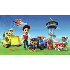 roommates 72 in x 126 in paw patrol xl chair rail prepasted wall paw patrol xl chair rail prepasted wall mural 7 panel jl1341m the home depot