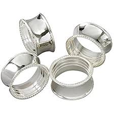 elegance beaded napkin rings silver plated set