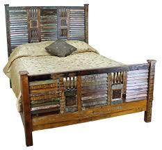 stylish furniture rustic varnished reclaimed wood bed together