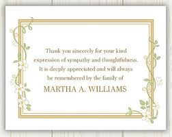 funeral thank you notes funeral thank you card etsy