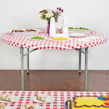 Plastic Fitted Tablecloths Round Red Gingham Plastic Table Cover Kwik Cover Disposable