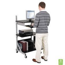 adjustable black computer desk stand up or sit down configuration