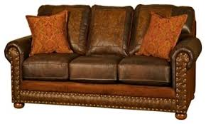 Sofas Blackburn Western Rancher Style Leather Sofa Southwestern Sofas By