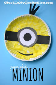 paper plate minion kid craft glued to my crafts