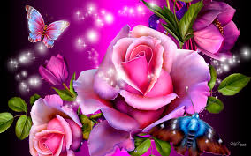 pink roses with butterflies hd wallpaper gbkt2nw wallpapers13 com