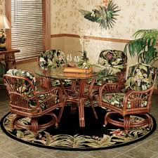 rattan swivel dining kitchen chairs with wheels and tropical