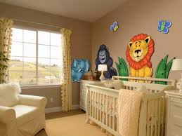 inspiration 3d animals wall decors added white crib and single