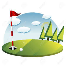 Golf Flags Golf Background With Green Flag Pole And Ball Royalty Free