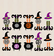 halloween witch pot halloween design witch legs in cauldron monogram frame digital