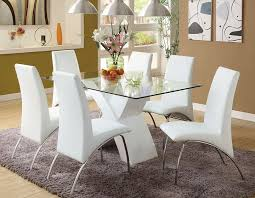 Amazing Ideas White Leather Dining Room Chairs Splendid Leather - White leather dining room set